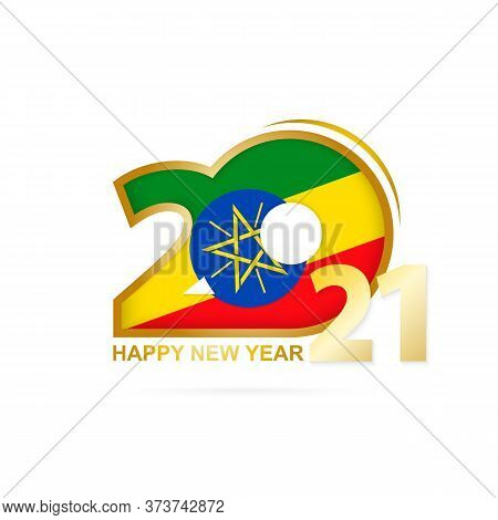 Year 2021 With Ethiopia Flag Pattern. Happy New Year Design. Vector Illustration.