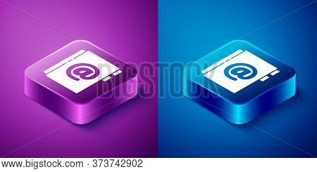 Isometric Address Book Icon Isolated On Blue And Purple Background. Notebook, Address, Contact, Dire