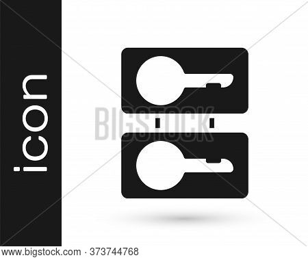 Grey Metal Mold Plates For Casting Keys Icon Isolated On White Background. Set For Mass Production A