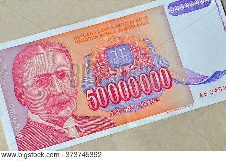 Obverse Of 50 Million Dinars Paper Bill Issued By Yugoslavia, That Shows Portrait Of Scientist  Miha