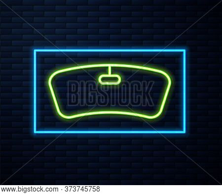 Glowing Neon Line Windshield Icon Isolated On Brick Wall Background. Vector Illustration