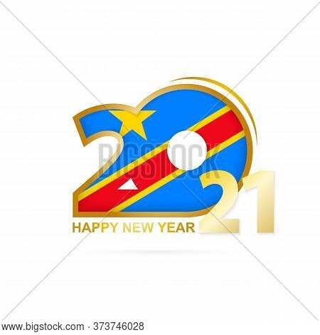 Year 2021 With Dr Congo Flag Pattern. Happy New Year Design. Vector Illustration.