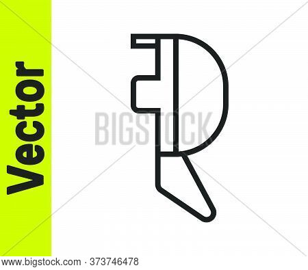 Black Line Fencing Helmet Mask Icon Isolated On White Background. Traditional Sport Defense. Vector