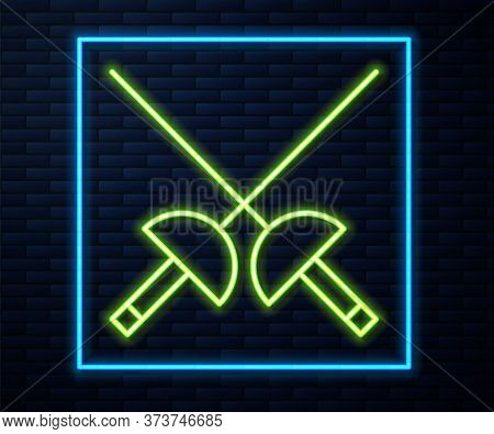 Glowing Neon Line Fencing Icon Isolated On Brick Wall Background. Sport Equipment. Vector Illustrati