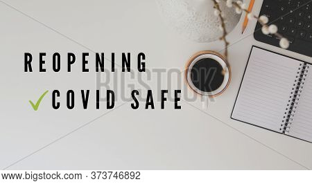 Reopening, Covid Safe Sticker Sign For Post Covid-19 Coronavirus Pandemic Illustration, Covid Safe E