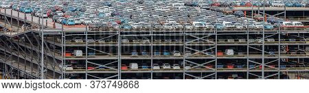 Southampton Port, England, Uk - June 08, 2020: Multilevel Parking Lot, Storage Facility In The Port