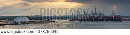 Southampton Port, England, Uk - June 08, 2020: Aerial Panoramic View Of Southampton Port At Sunset.