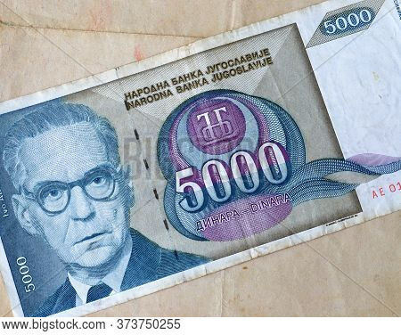 Obverse Of 5.000 Dinars Paper Bill Issued By Yugoslavia, That Shows Portrait Of Writer And Nobel Pri