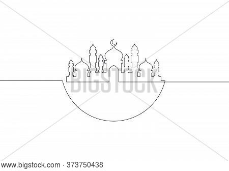 One Single Line Drawing Of Masjid Ornament With Half Round Circle. Muslim Holiday, Eid Al Fitr And R