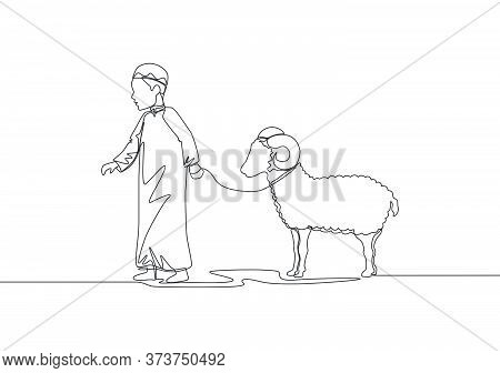 One Single Line Drawing Of Young Muslim Boy Holding Sheep To Masjid. Muslim Holiday The Sacrifice A