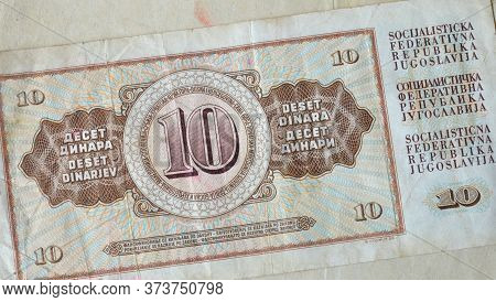 Reverse Of 10 Dinars Paper Bill Issued By Yugoslavia, That Shows Numeral Value