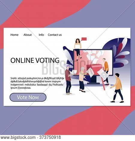 Online Voting Landing Page For Government And Election Center. Referendum And Election App Page, Reg