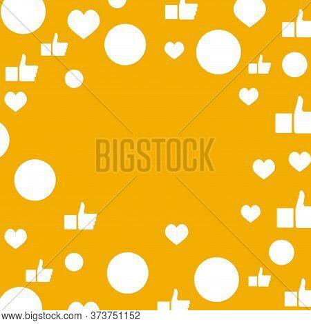 Social Template Mockup, Float Communication Symbols, Cartoon Face Smile And Like. Influencer Banner