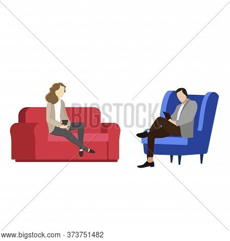 Reception With Psychologist. Vector Individual Psychotherapy, Therapy Physician, Solving Psychologic