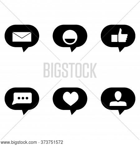 Icon Sign Symbol For Social Media. Like Envelopem Speech Bubble And Smile, Thumb Up And Heart. Black