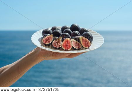 Welcome Plate Of Figs With The Black Sea Backdrop, Crimea