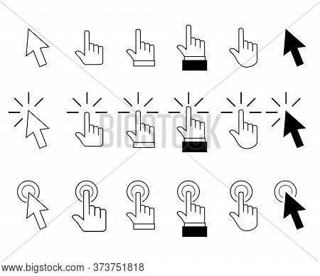 Pointer Cursor Arrows And Hand Click. Vector Symbol Arrow Pointing And Selection Direction, Choose A