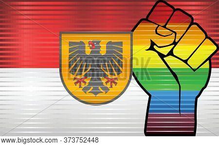 Shiny Lgbt Protest Fist On A Dortmund Flag - Illustration,  Abstract Grunge Dortmund Flag And Lgbt F