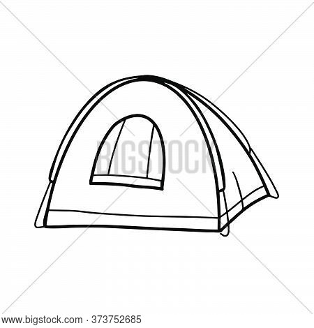 Tourist Or Military Tent. Camping Equipment. Shelter For Hiking, Adventure Travel, Recreation And Mo