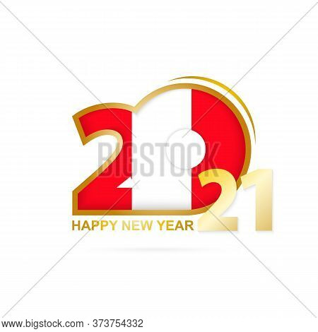 Year 2021 With Peru Flag Pattern. Happy New Year Design. Vector Illustration.