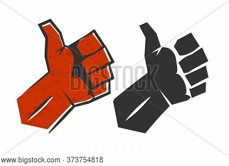 Red Positive Thumb Up Gesture Symbol Of Success. Red Vector Silhouette Retro Style Man Hand Illustra