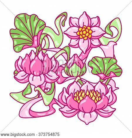 Background With Lotus Flowers. Art Nouveau Vintage Style. Water Lily Decorative Illustration. Natura