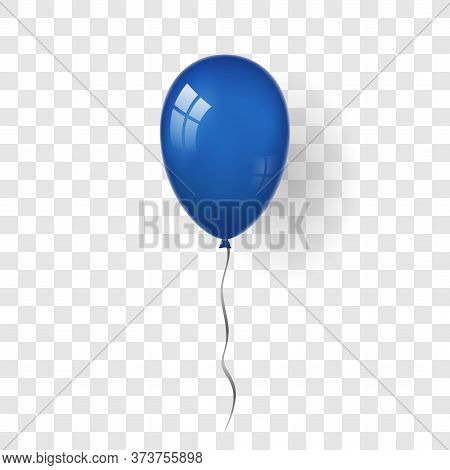 Blue Balloon 3d, Thread, Isolated White Transparent Background. Color Glossy Flying Baloon, Ribbon,