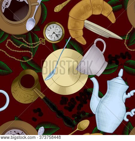 Vintage color engraved seamless pattern background with with coffee and tea dishes