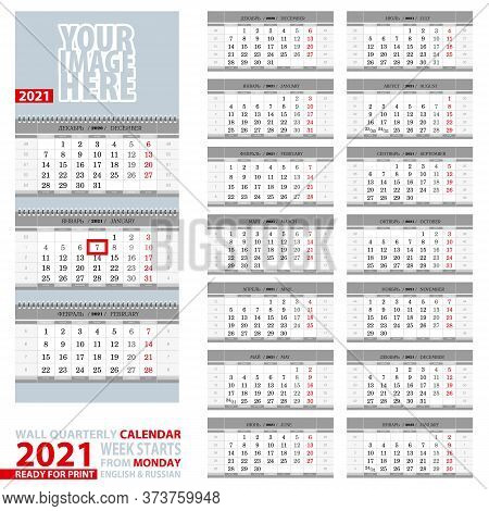 2021 Calendar, Design In Gray Color. Wall Quarterly Calendar 2021, English And Russian Language. Wee