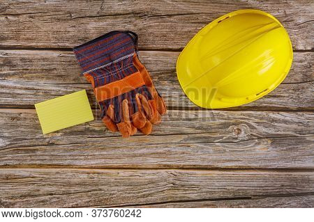 Standard Construction Safety Equipment On Safety Helmet Hat For Safety Protective Gloves Of Workman