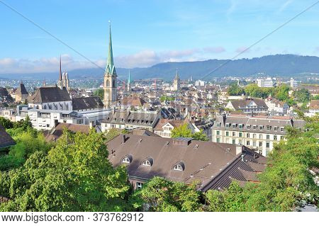 Zurich, Switzerland. Top-view Of The Old Town In A Sunny Summer Morning
