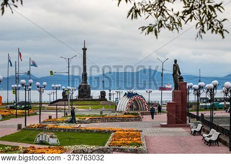 Petropavlovsk, Russia - September 15, 2019: View Of The Stela City Of Military Glory And The Zavoiko