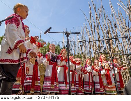 Voronezh, Russia - September 05, 2019: Children's Choir Performs Folk Songs, Flower Festival 2019, V