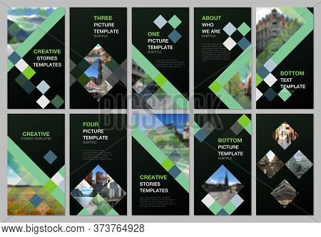 Creative Social Networks Stories Design, Vertical Banner Or Flyer Templates With Cubes, Geometric Ab