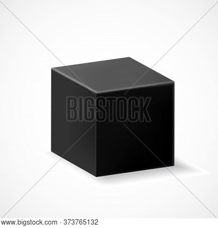 A Black Cube With Shadow Isolated On White Background. Three-dimensional Black Geometric Shape. Vect