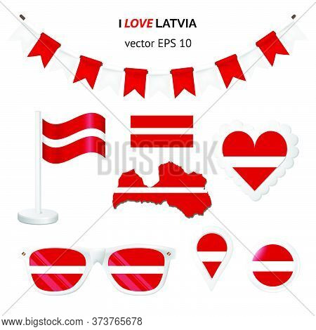 Latvia Symbols Attribute. Heart, Flags, Glasses, Buttons, And Garlands With Civil And State Latvia C