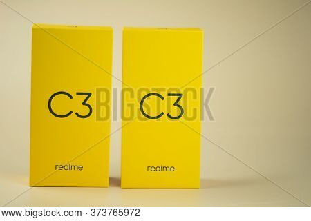 Samut Prakan, Thailand - June 28, 2020 : Yellow Box Of Realme C3 Entry-level Android Smartphone On Y