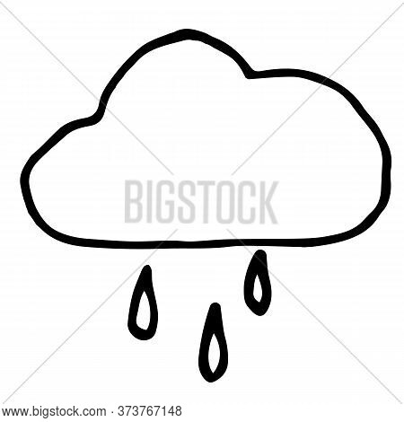 Rainy Cloud Vector Illustration Summer Autumn Weather Cold Water Raindrops Nature State