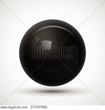 Black Glassy Ball Isolated On White Background. Realistic Dimensional Black Sphere With Reflections