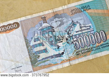 Obverse Of 50.000 Dinars Paper Bill Issued By Yugoslavia, That Shows Winter Resort