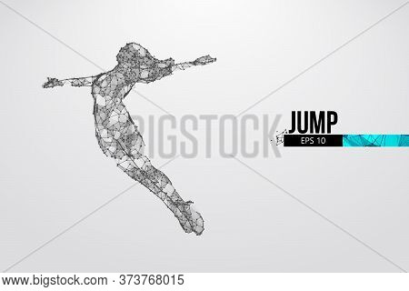 Abstract Silhouette Of A Wireframe Jumping Woman. People In A Jump Symbolize Freedom. Woman From Par