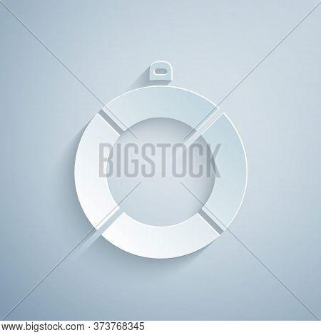 Paper Cut Lifebuoy Icon Isolated On Grey Background. Lifebelt Symbol. Paper Art Style. Vector