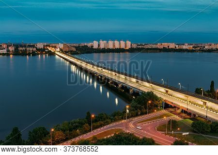 Evening Voronezh. Northern Bridge Over Voronezh River, Aerial View