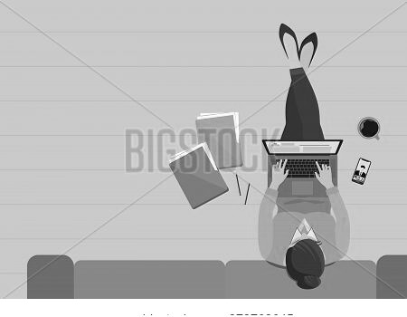 Woman  Working In The Living Room With Laptop At Home Top View