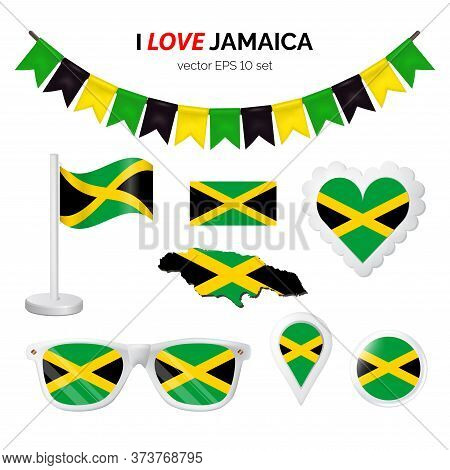 Jamaica Symbols Attribute. Heart, Flags, Glasses, Buttons, And Garlands With Civil And State Jamaica