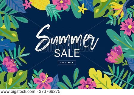 Tropical Summer Cute Sale Background With Monstera Leaf, Flowers And Palm Leaves. Template For Socia