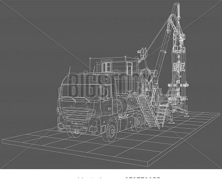 Wire-frame Line Truck Isolated On White. Vector Rendering Of 3d