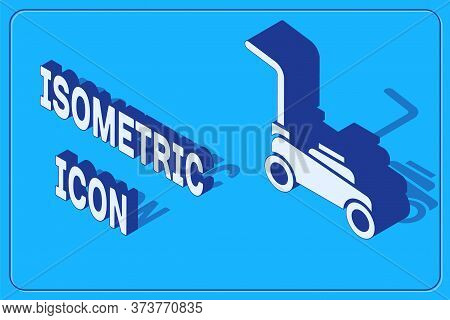 Isometric Lawn Mower Icon Isolated On Blue Background. Lawn Mower Cutting Grass. Vector