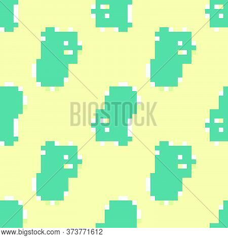 Green Cryptocurrency Key Icon Isolated Seamless Pattern On Yellow Background. Concept Of Cyber Secur