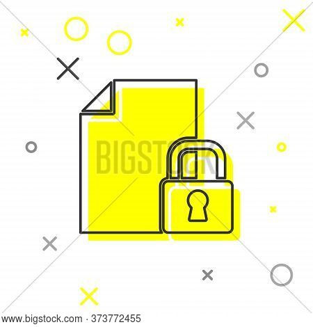 Grey Line Document And Lock Icon Isolated On White Background. File Format And Padlock. Security, Sa